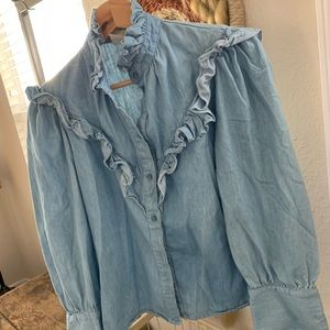 Vintage denim soft cotton ruffle button down shirt